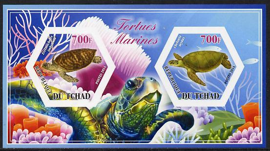 Chad 2014 Turtles #1 imperf sheetlet containing two hexagonal-shaped values unmounted mint