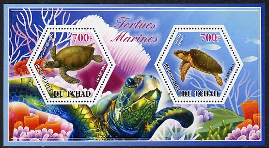 Chad 2014 Turtles #2 perf sheetlet containing two hexagonal-shaped values unmounted mint