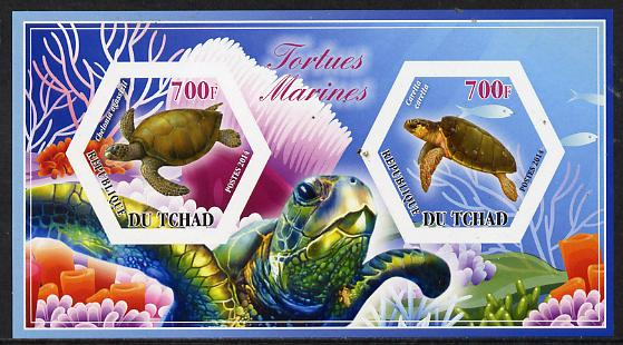 Chad 2014 Turtles #2 imperf sheetlet containing two hexagonal-shaped values unmounted mint
