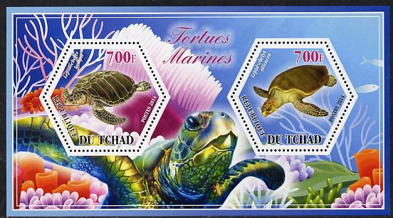 Chad 2014 Turtles #3 perf sheetlet containing two hexagonal-shaped values unmounted mint