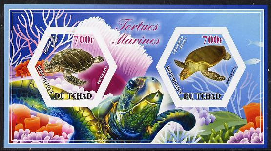 Chad 2014 Turtles #3 imperf sheetlet containing two hexagonal-shaped values unmounted mint
