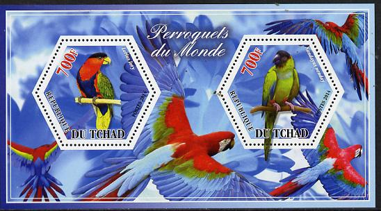 Chad 2014 Parrots #1 perf sheetlet containing two hexagonal-shaped values unmounted mint