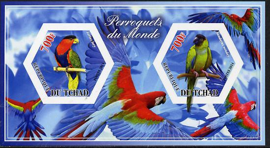 Chad 2014 Parrots #1 imperf sheetlet containing two hexagonal-shaped values unmounted mint