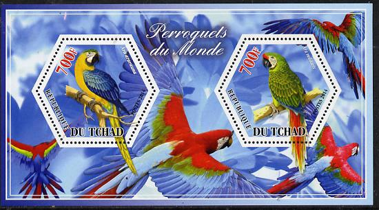 Chad 2014 Parrots #2 perf sheetlet containing two hexagonal-shaped values unmounted mint