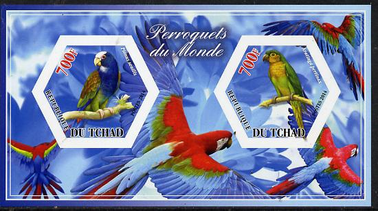 Chad 2014 Parrots #3 imperf sheetlet containing two hexagonal-shaped values unmounted mint