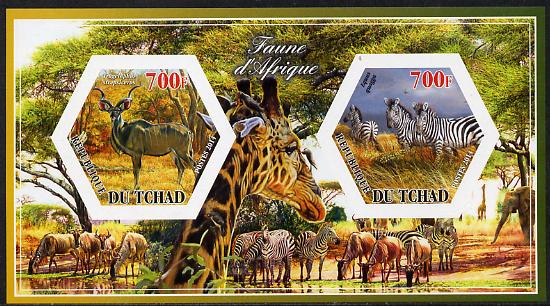 Chad 2014 Animals of Africa #1 imperf sheetlet containing two hexagonal-shaped values unmounted mint