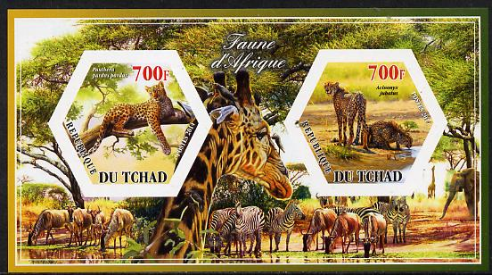 Chad 2014 Animals of Africa #2 imperf sheetlet containing two hexagonal-shaped values unmounted mint