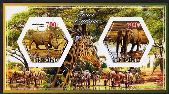 Chad 2014 Animals of Africa #3 imperf sheetlet containing two hexagonal-shaped values unmounted mint