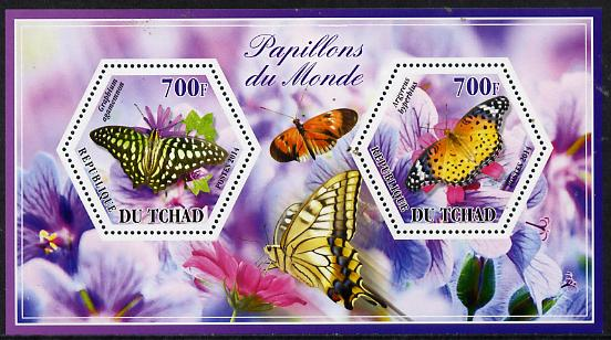 Chad 2014 Butterflies #5 perf sheetlet containing two hexagonal-shaped values unmounted mint