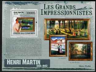 Comoro Islands 2009 Impressionists - Henri Martin perf s/sheet unmounted mint