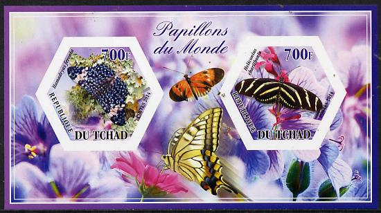 Chad 2014 Butterflies #6 imperf sheetlet containing two hexagonal-shaped values unmounted mint