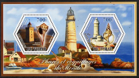 Chad 2014 Lighthouses & Shells #1 perf sheetlet containing two hexagonal-shaped values unmounted mint