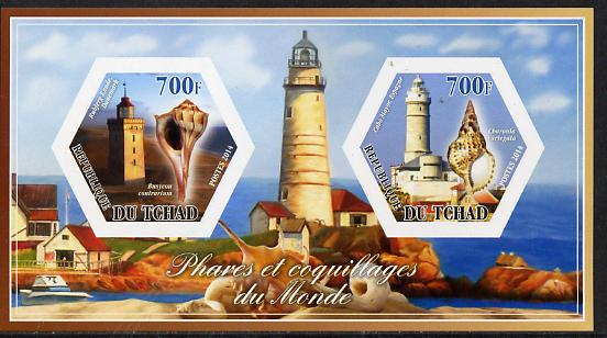 Chad 2014 Lighthouses & Shells #1 imperf sheetlet containing two hexagonal-shaped values unmounted mint