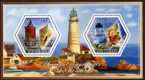 Chad 2014 Lighthouses & Shells #2 perf sheetlet containing two hexagonal-shaped values unmounted mint