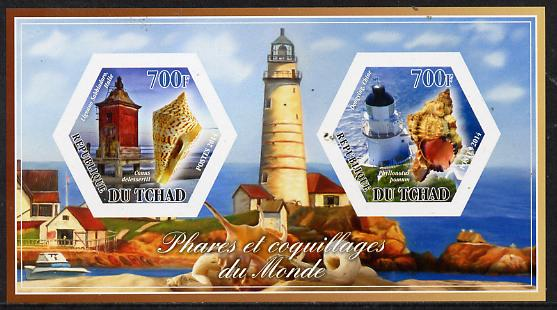 Chad 2014 Lighthouses & Shells #2 imperf sheetlet containing two hexagonal-shaped values unmounted mint
