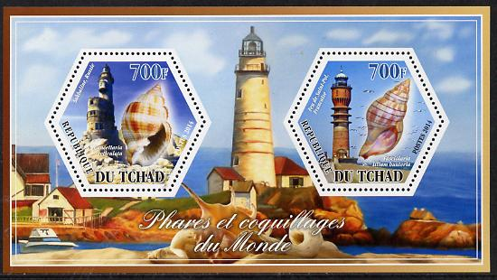 Chad 2014 Lighthouses & Shells #3 perf sheetlet containing two hexagonal-shaped values unmounted mint