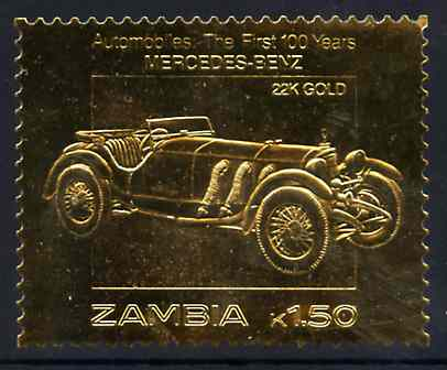 Zambia 1987 Classic Cars 1k50 Mercedes-Benz in 22k gold foil unmounted mint
