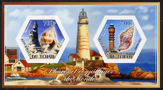 Chad 2014 Lighthouses & Shells #3 imperf sheetlet containing two hexagonal-shaped values unmounted mint
