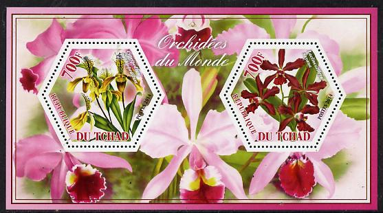Chad 2014 Orchids #5 perf sheetlet containing two hexagonal-shaped values unmounted mint