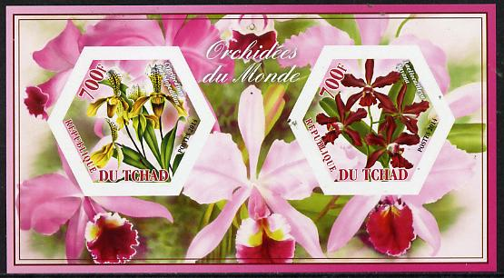 Chad 2014 Orchids #5 imperf sheetlet containing two hexagonal-shaped values unmounted mint