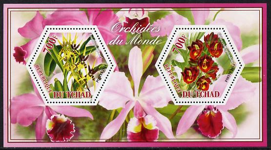 Chad 2014 Orchids #6 perf sheetlet containing two hexagonal-shaped values unmounted mint
