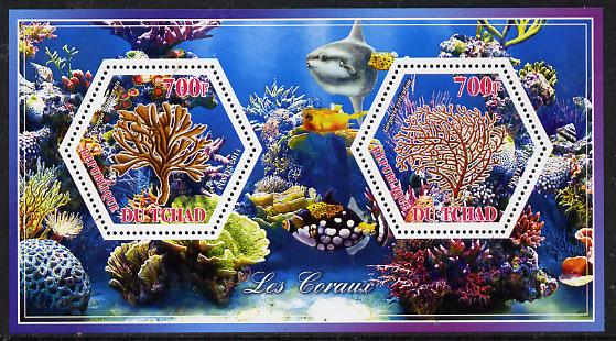 Chad 2014 Coral #2 perf sheetlet containing two hexagonal-shaped values unmounted mint