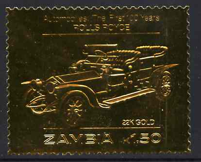 Zambia 1987 Classic Cars 1k50 Rolls Royce in 22k gold foil unmounted mint