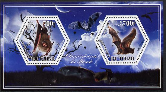 Chad 2014 Bats #1 perf sheetlet containing two hexagonal-shaped values unmounted mint