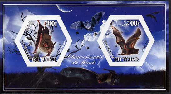 Chad 2014 Bats #1 imperf sheetlet containing two hexagonal-shaped values unmounted mint