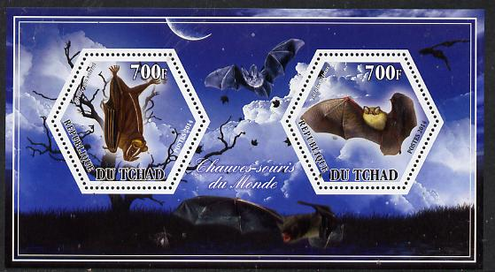Chad 2014 Bats #2 perf sheetlet containing two hexagonal-shaped values unmounted mint