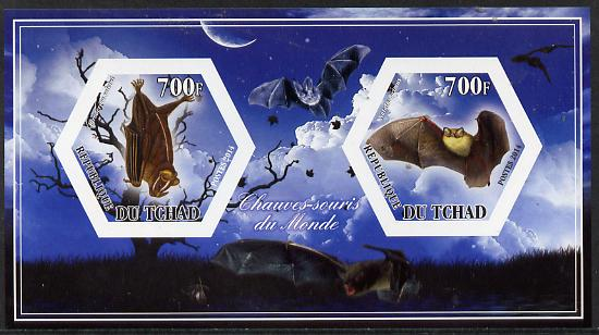Chad 2014 Bats #2 imperf sheetlet containing two hexagonal-shaped values unmounted mint