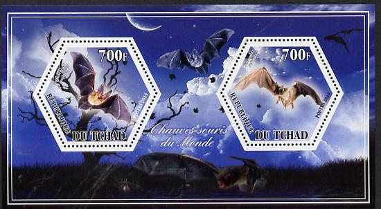Chad 2014 Bats #3 perf sheetlet containing two hexagonal-shaped values unmounted mint