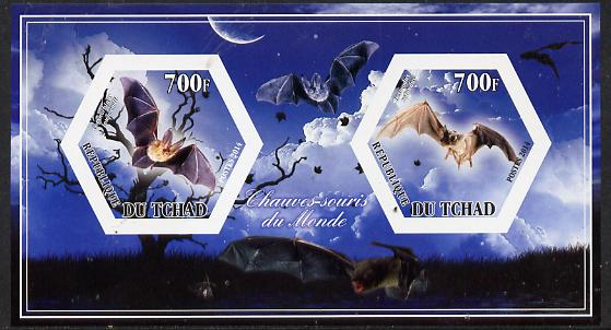 Chad 2014 Bats #3 imperf sheetlet containing two hexagonal-shaped values unmounted mint