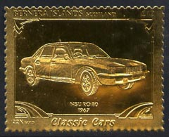 Bernera 1985 Classic Cars - 1967 NSU \A312 value perforated & embossed in 22 carat gold foil unmounted mint