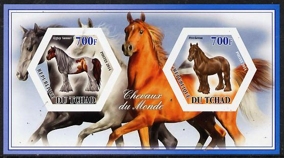 Chad 2014 Horses #3 imperf sheetlet containing two hexagonal-shaped values unmounted mint