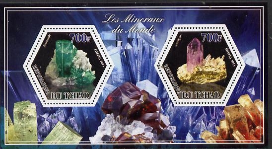 Chad 2014 Minerals #1 perf sheetlet containing two hexagonal-shaped values unmounted mint , stamps on shaped, stamps on hexagon, stamps on hexagonal, stamps on minerals