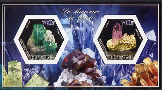 Chad 2014 Minerals #1 imperf sheetlet containing two hexagonal-shaped values unmounted mint
