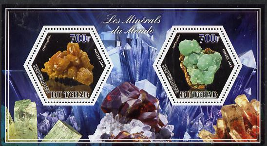 Chad 2014 Minerals #2 perf sheetlet containing two hexagonal-shaped values unmounted mint