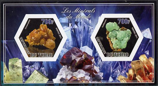 Chad 2014 Minerals #2 imperf sheetlet containing two hexagonal-shaped values unmounted mint