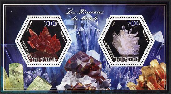 Chad 2014 Minerals #3 perf sheetlet containing two hexagonal-shaped values unmounted mint