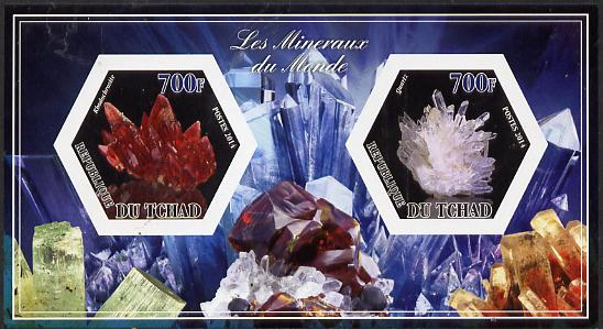 Chad 2014 Minerals #3 imperf sheetlet containing two hexagonal-shaped values unmounted mint , stamps on shaped, stamps on hexagon, stamps on hexagonal, stamps on minerals