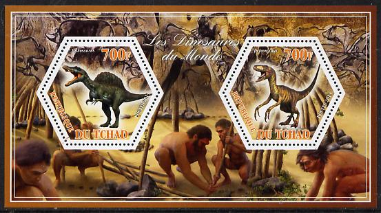 Chad 2014 Dinosaurs #2 perf sheetlet containing two hexagonal-shaped values unmounted mint