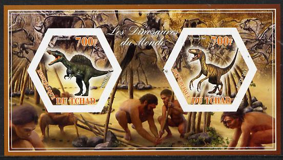 Chad 2014 Dinosaurs #2 imperf sheetlet containing two hexagonal-shaped values unmounted mint