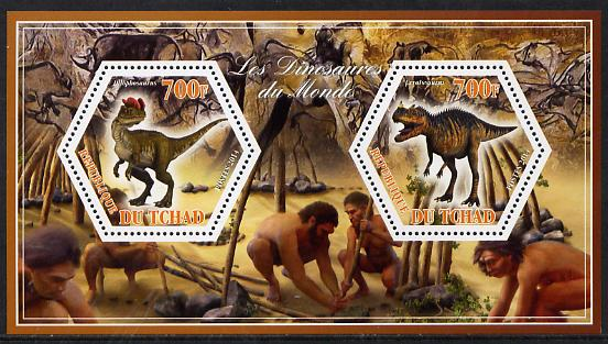Chad 2014 Dinosaurs #3 perf sheetlet containing two hexagonal-shaped values unmounted mint
