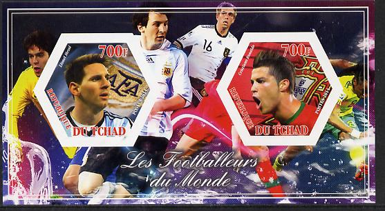 Chad 2014 Footballers of the World #1 imperf sheetlet containing two hexagonal-shaped values unmounted mint