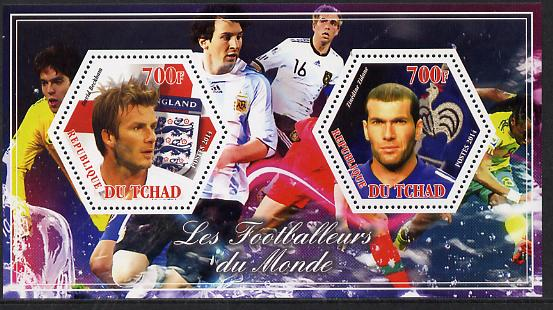 Chad 2014 Footballers of the World #3 perf sheetlet containing two hexagonal-shaped values unmounted mint