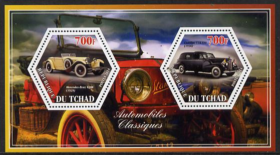 Chad 2014 Classic Cars #1 perf sheetlet containing two hexagonal-shaped values unmounted mint