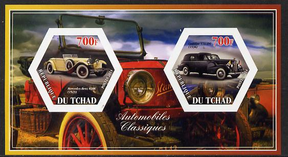 Chad 2014 Classic Cars #1 imperf sheetlet containing two hexagonal-shaped values unmounted mint