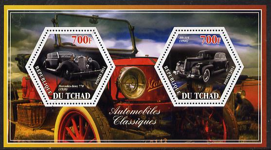 Chad 2014 Classic Cars #2 perf sheetlet containing two hexagonal-shaped values unmounted mint