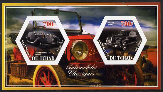Chad 2014 Classic Cars #2 imperf sheetlet containing two hexagonal-shaped values unmounted mint